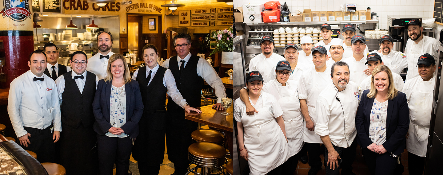 Collage of sarah with shaws' staff