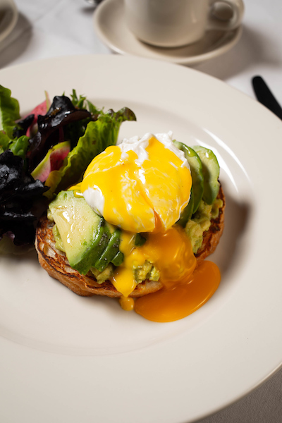 avocado toast with egg at petterino's