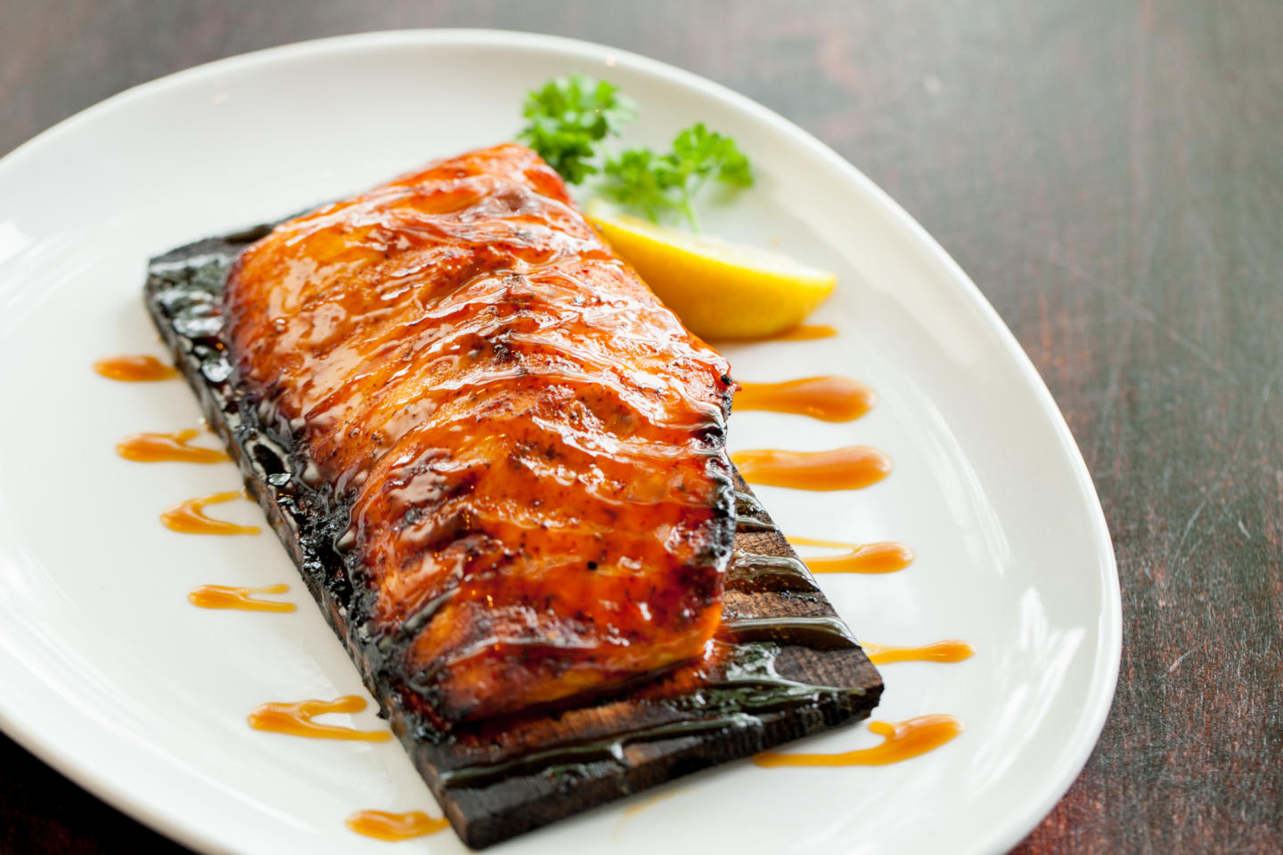Cedar-planked salmon on a plate