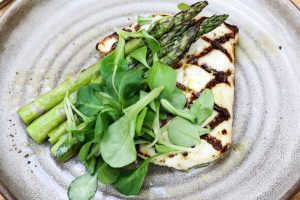 Alaskan Halibut with grilled asparagus at Summer House Santa Monica