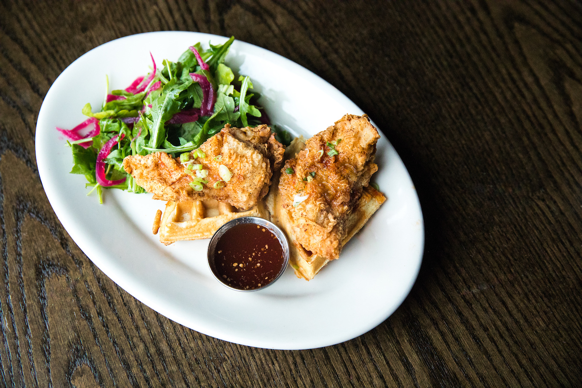 Seaside's Fried Chicken and Waffles with Hot Sauce Maple Syrup