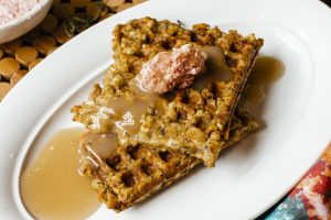 Stuffing Waffles using Thanksgiving leftovers