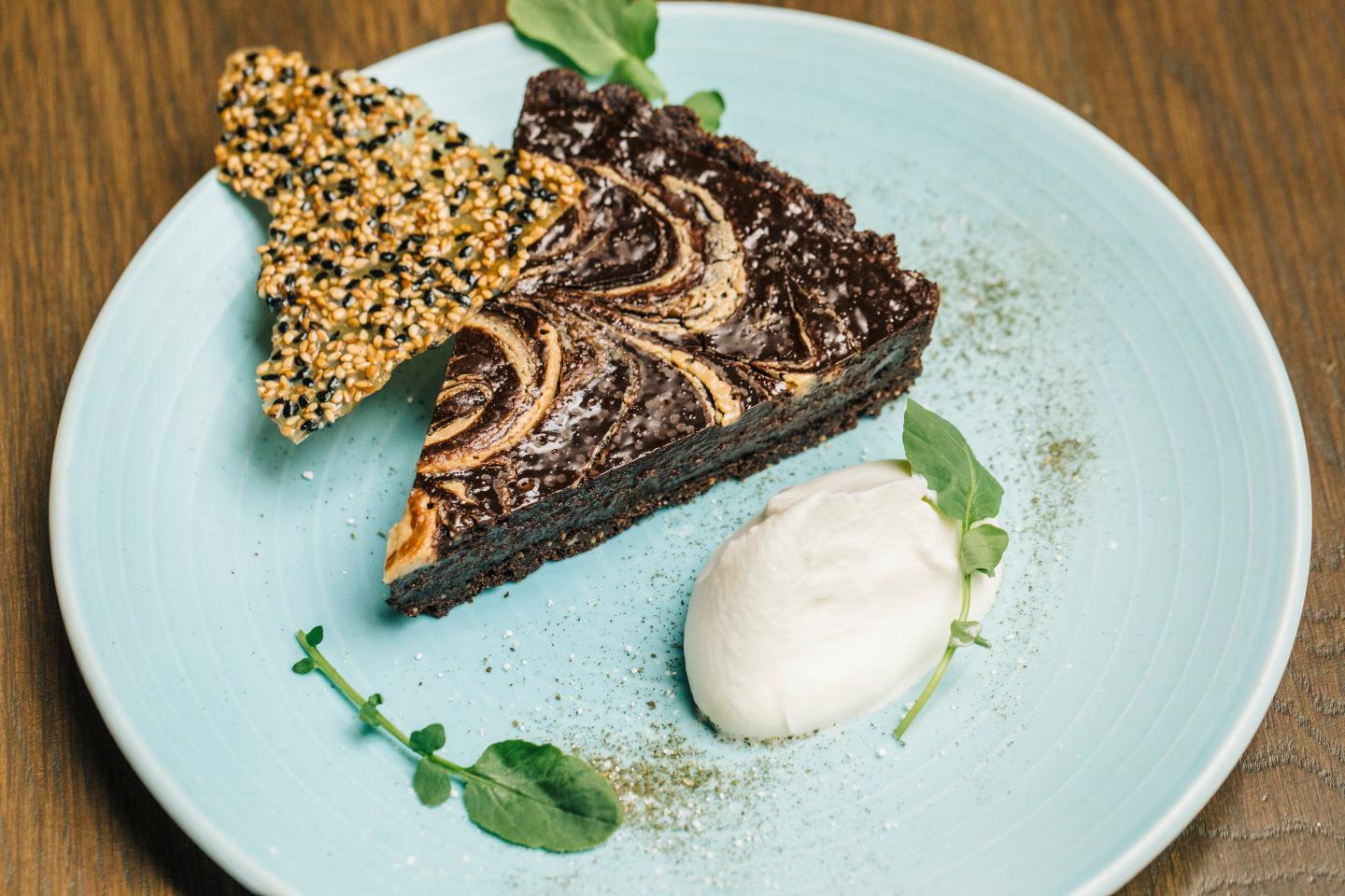 Aba Double Chocolate Tart Tahini Dessert