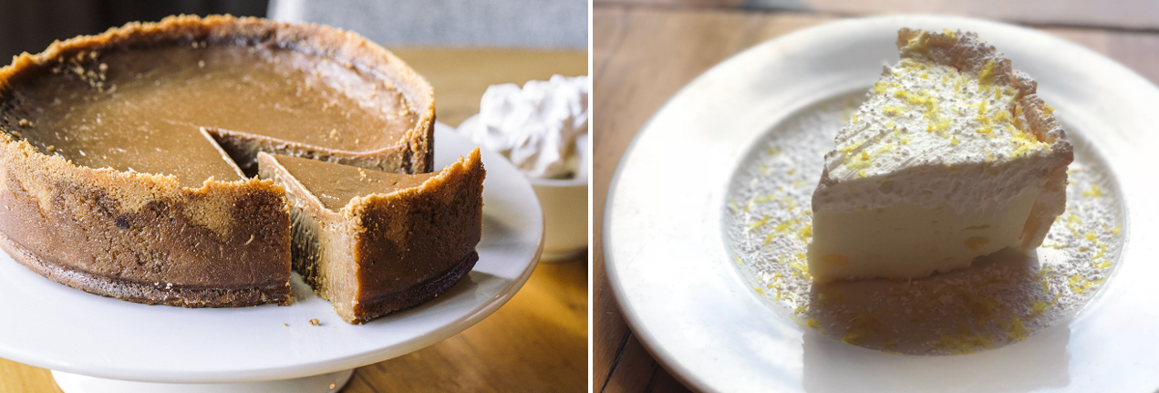 side by side images of beatrix's oh my caramel pie and lemon angel pie