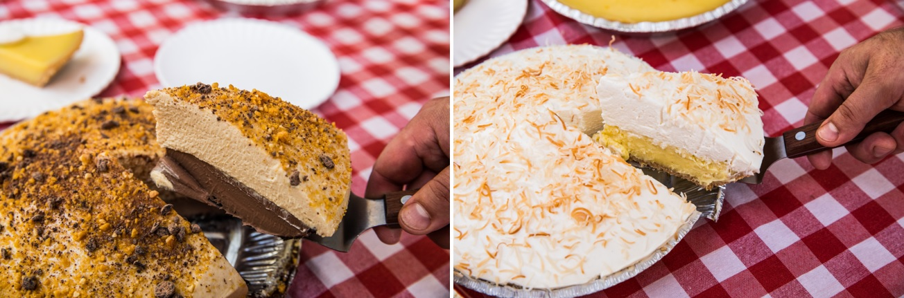side by side images of Bub City's chocolate peanut butter delight pie and coconut cream pie