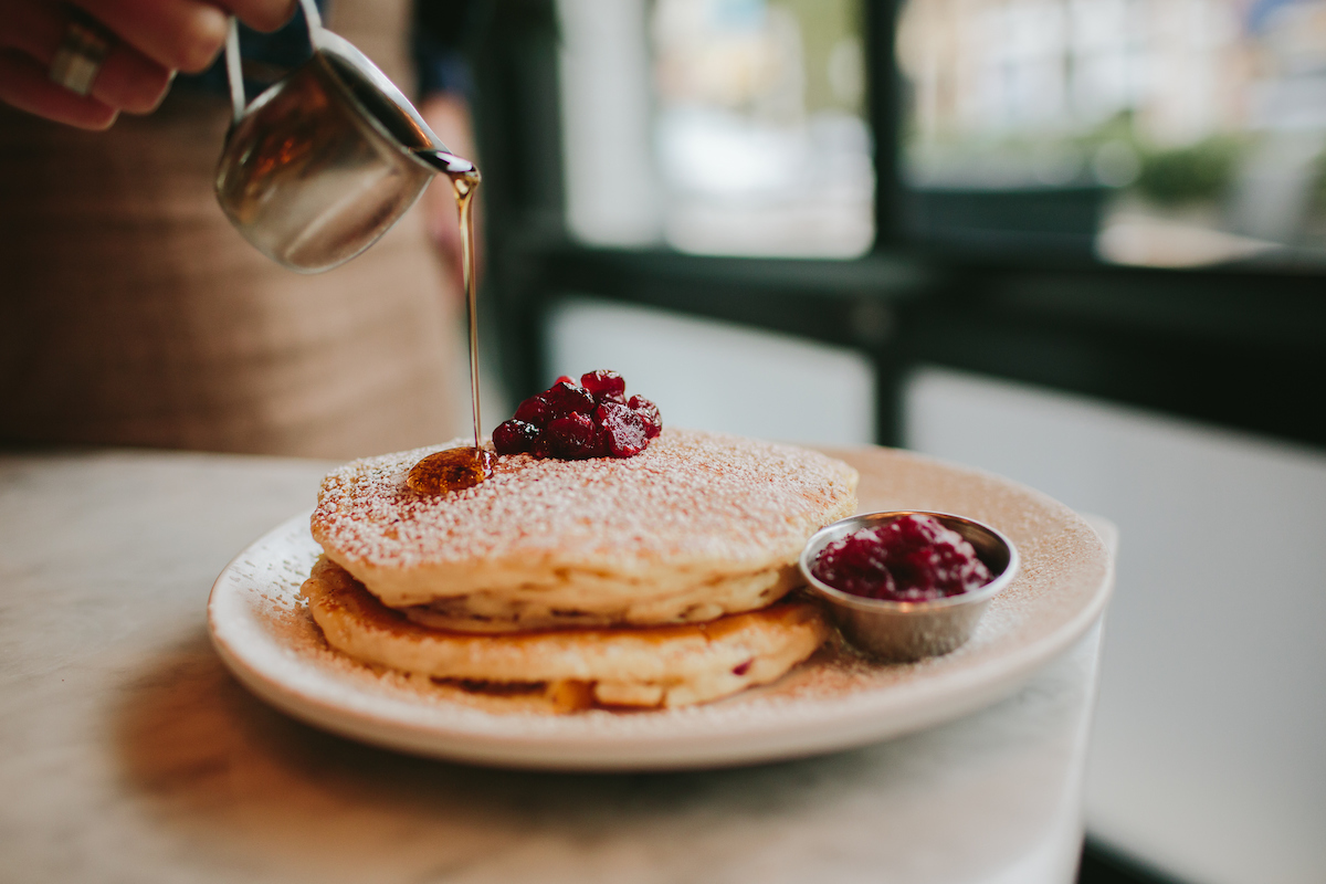 Pancakes with Cranberry Relish and Orange Zest