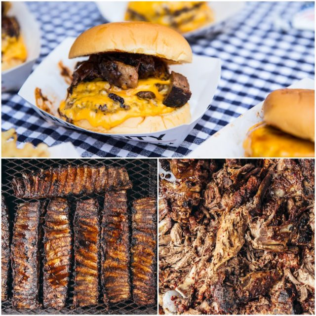 burgers, ribs and pulled pork