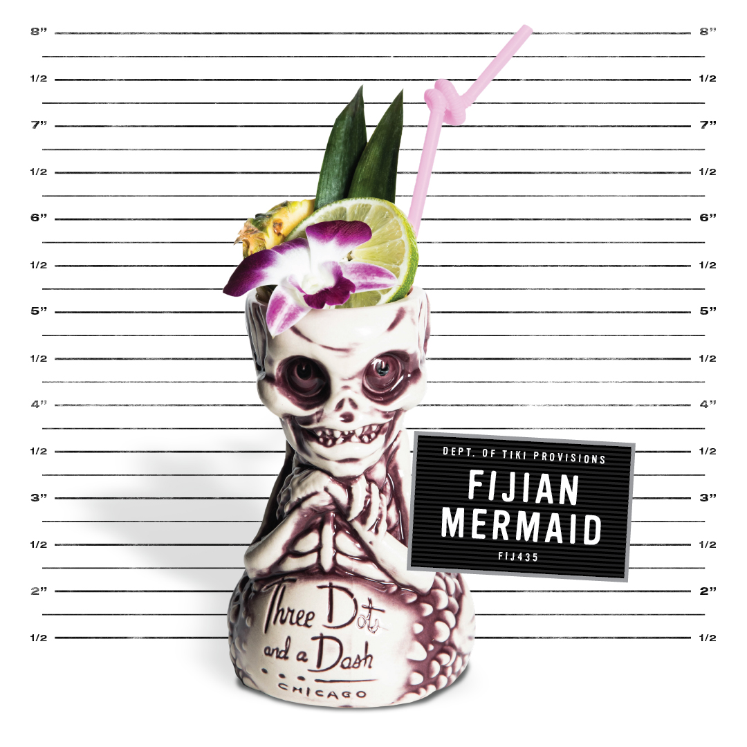 purple fijian mermaid mug from three dots and a dash with a pink straw, lime wheel, two pineapple fronts and an orchird in front of a police mug shot