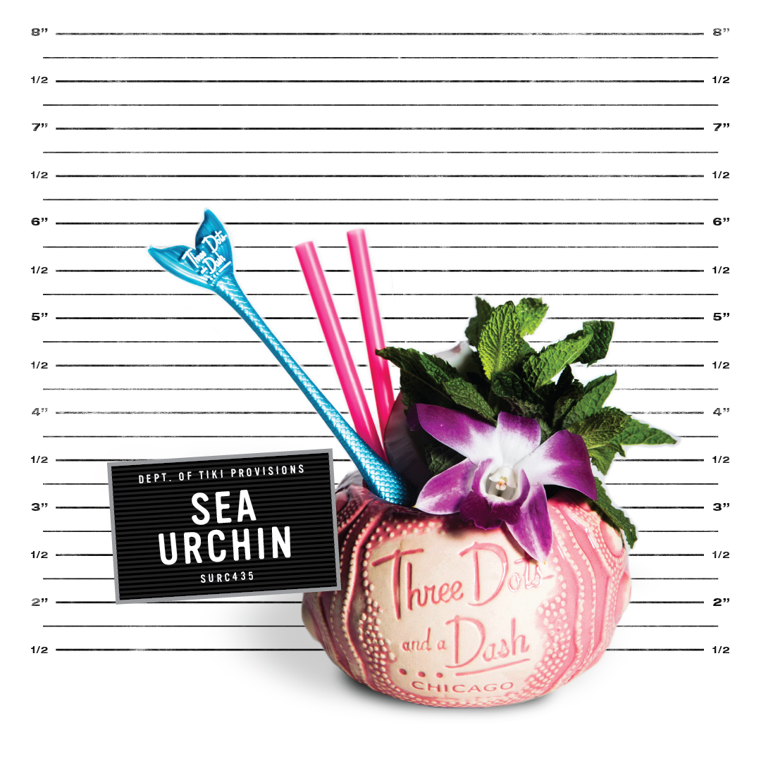pink sea urchin mug from three dots and a dash with a blue swizzle stick, pink straws, mint and an orchid in front of a police lineup