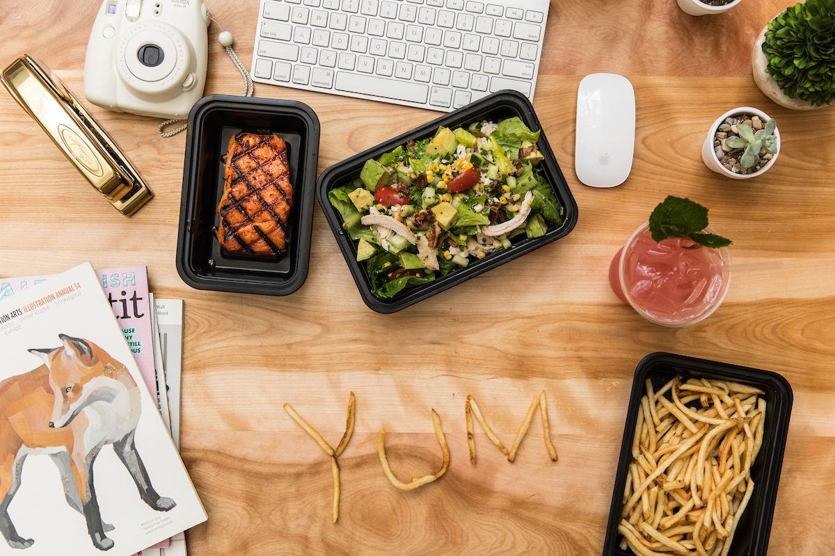 lunch from Summer House on a desk