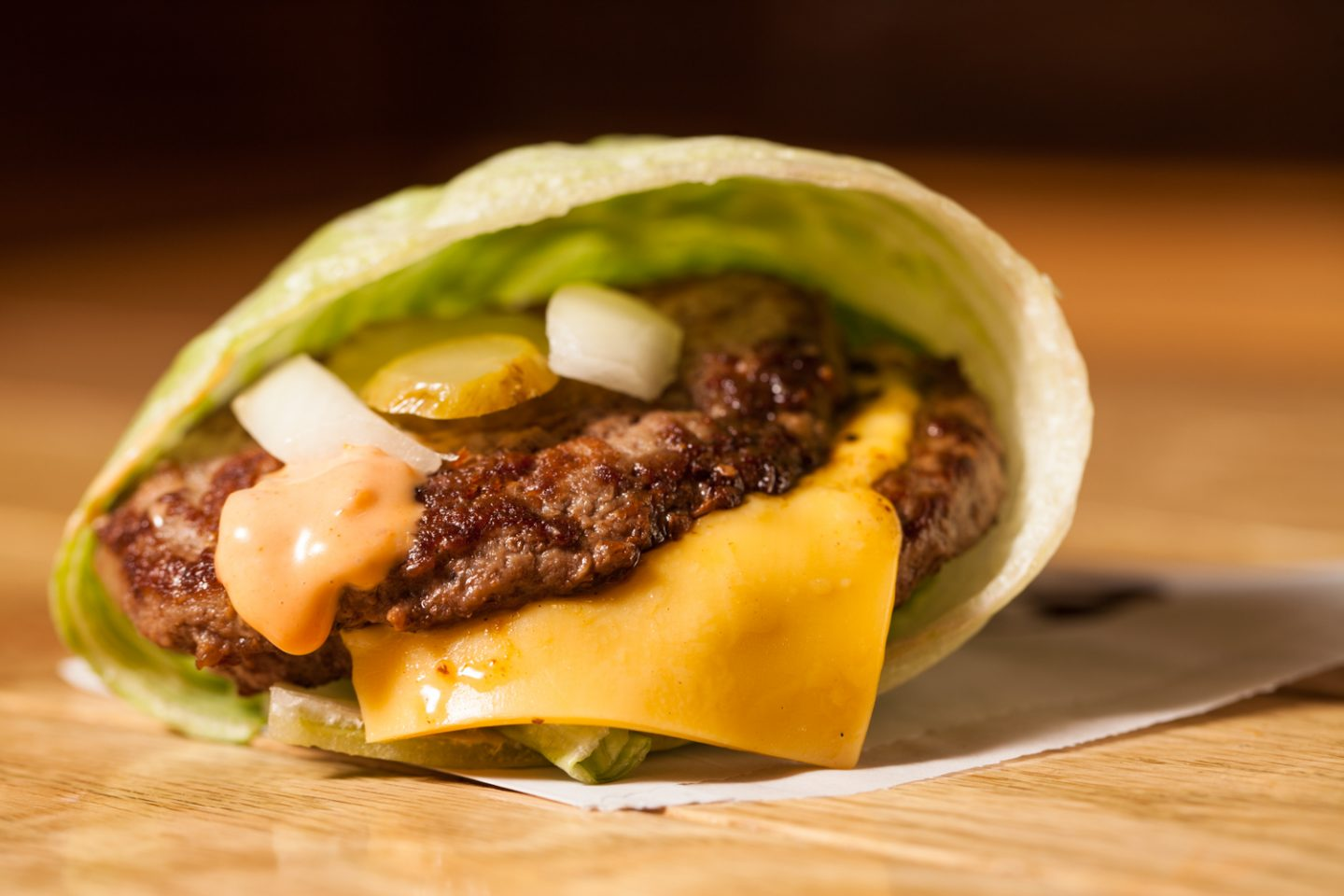 M Burger's burger wrapped in lettuce instead of a bun