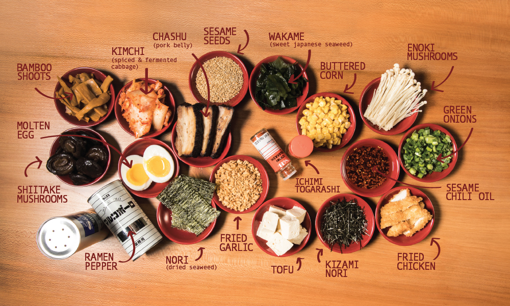 ingredients and toppings available at Ramen-san