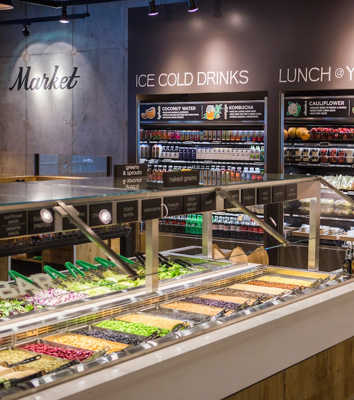 Interior shot of Beatrix Market salad bar