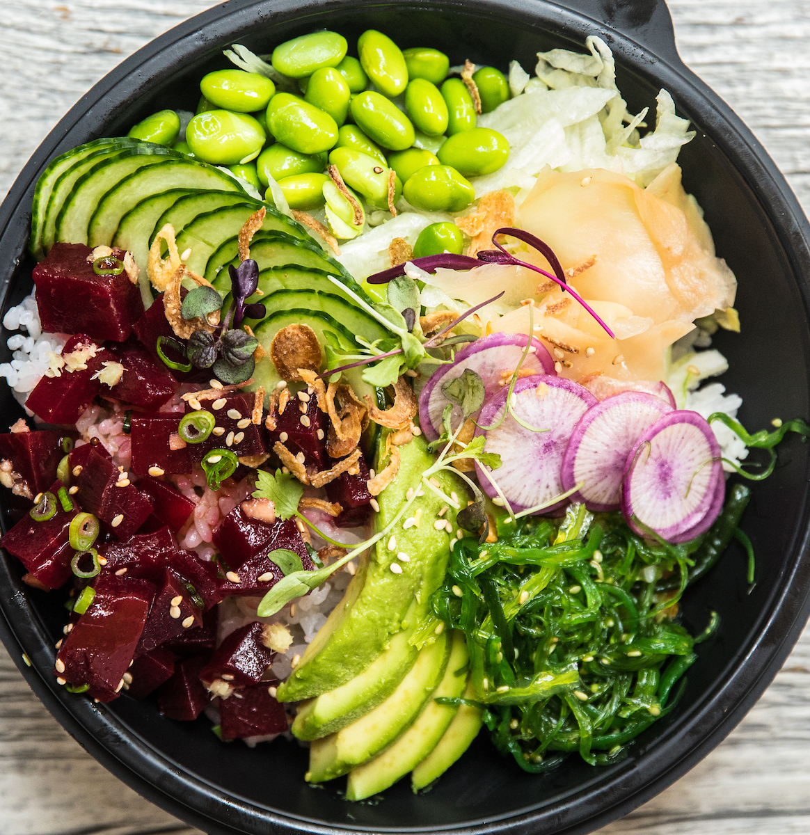 poke bowl with beets