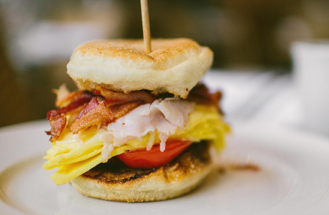 Breakfast sandwich from M Street Kitchen on an English muffin