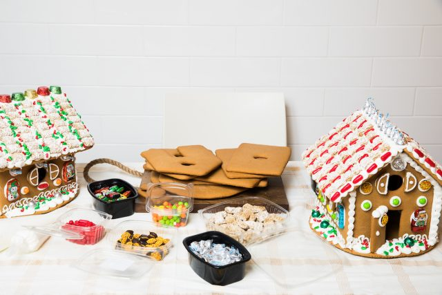 Gingerbread house with gingerbread house ingredients to make it