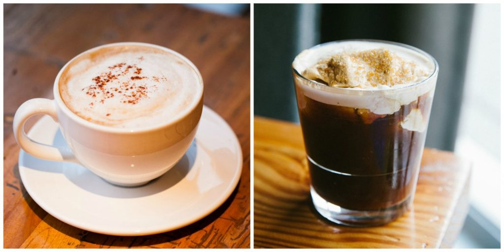 A hot coffee drink and a cold nitro coffee drink at Beatrix