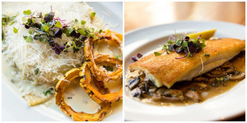 Fish dish and pasta dish at Beatrix
