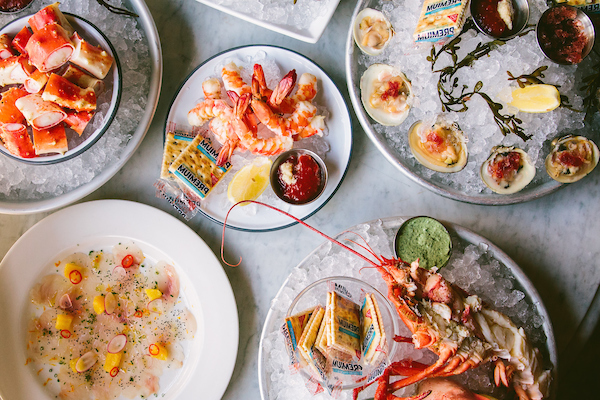 Sashimi, crab bites, shrimp cocktail, clams and lobster at Oyster Bah