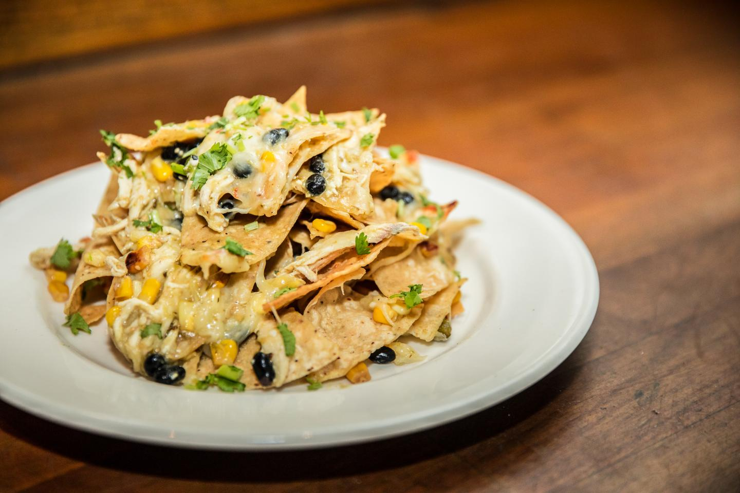 Green Chili Chicken Nachos