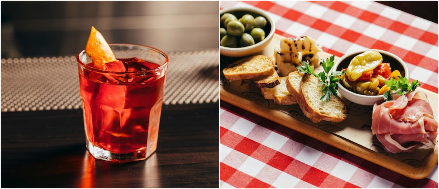 negroni and antipasti board
