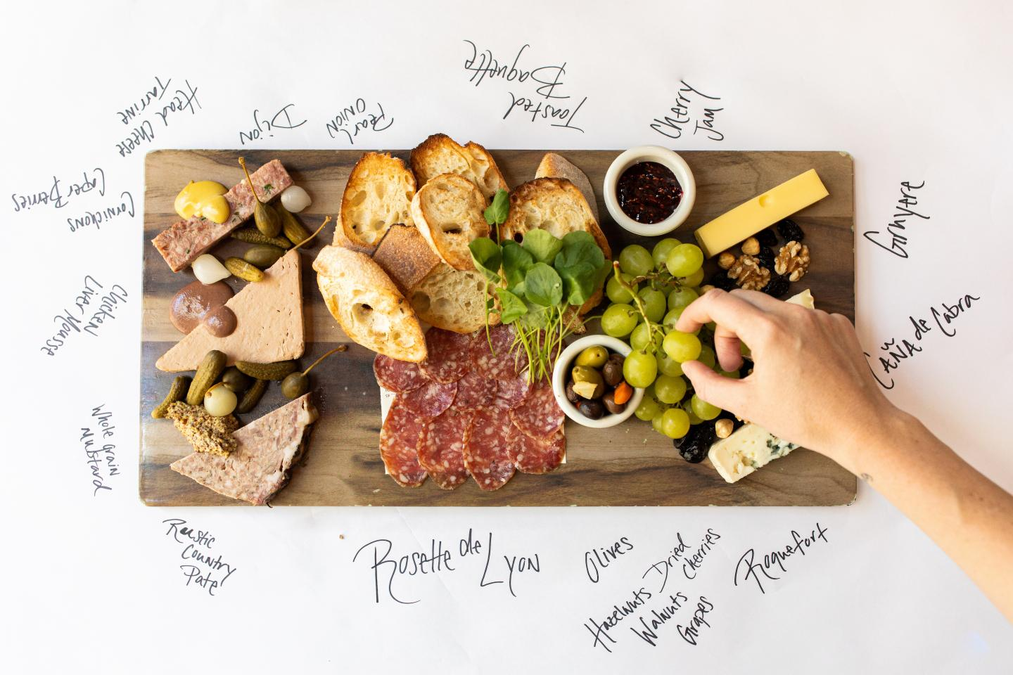 Mon Ami Gabi Charcuterie Board with writing