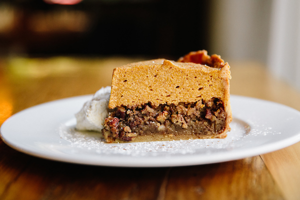 A side view of the Pumpkin Pecan Pie from Beatrix