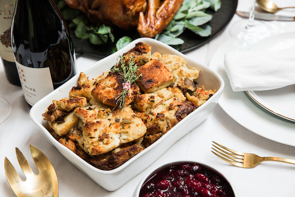 The Wildfire Stuffing on a Thanksgiving table