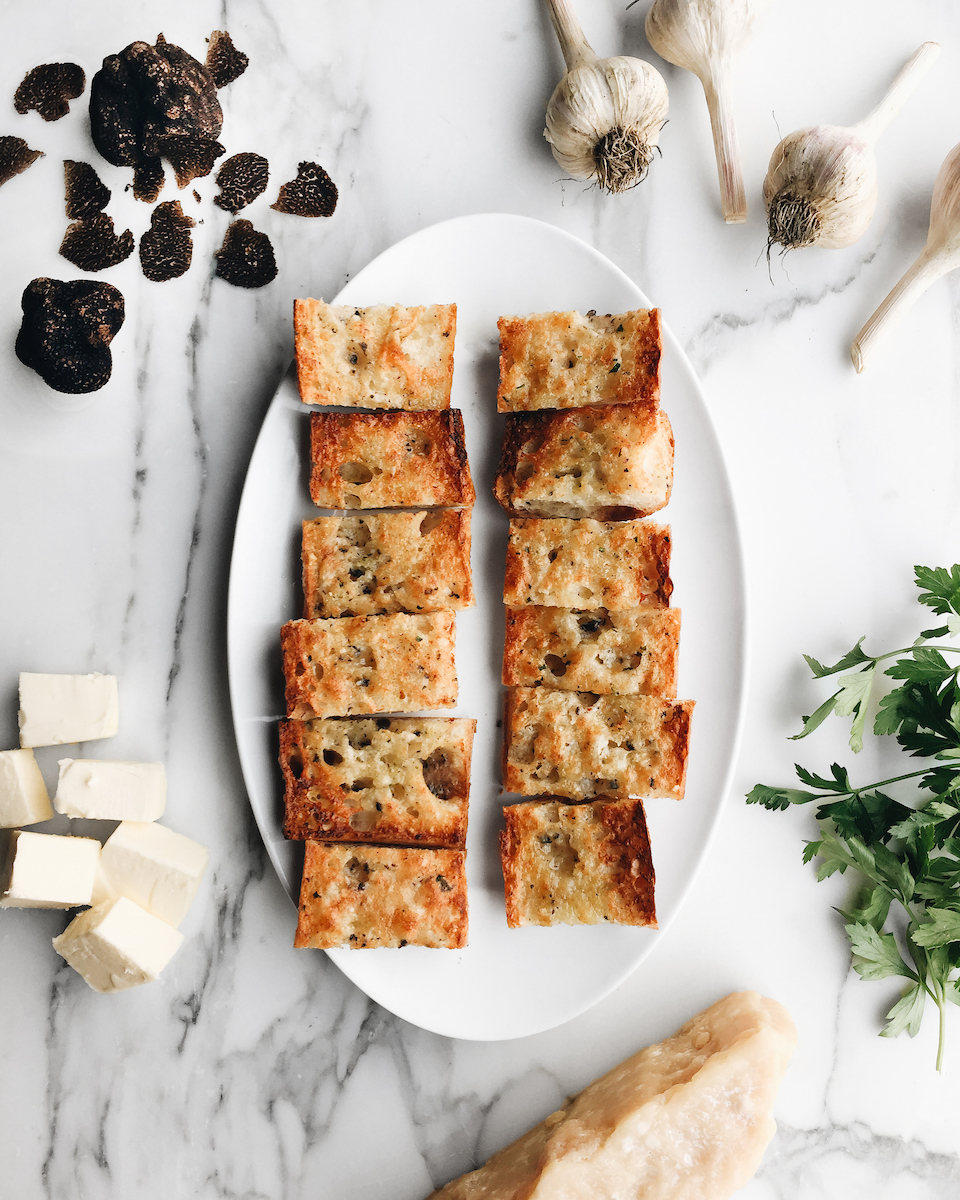 Truffle Garlic bread from RPM surrounded by ingredients