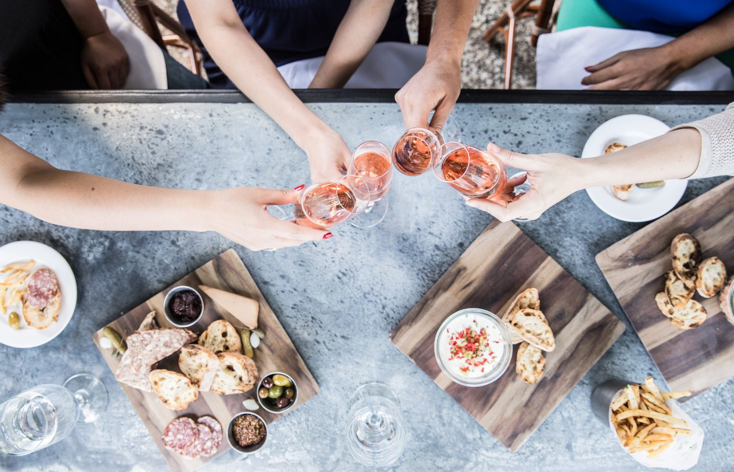 sparkling rose & charcuterie overhead