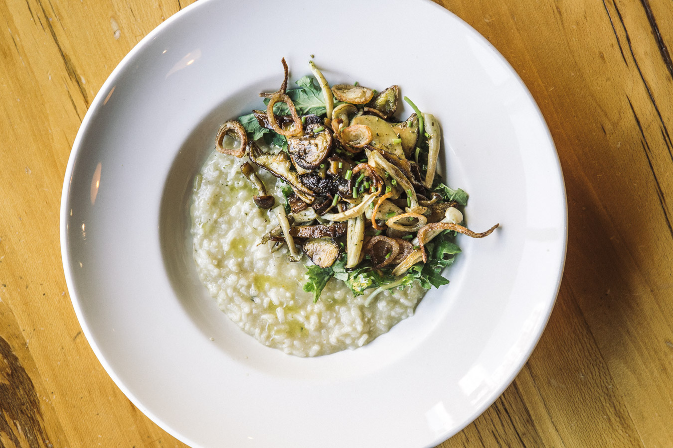 overhead shot of risotto with mushrooms