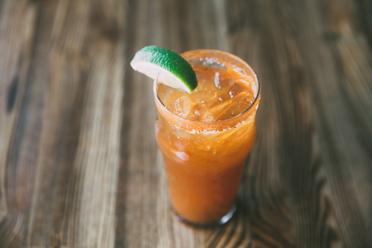 Oyster Bah's Michelada with Four Letter Hot Sauce