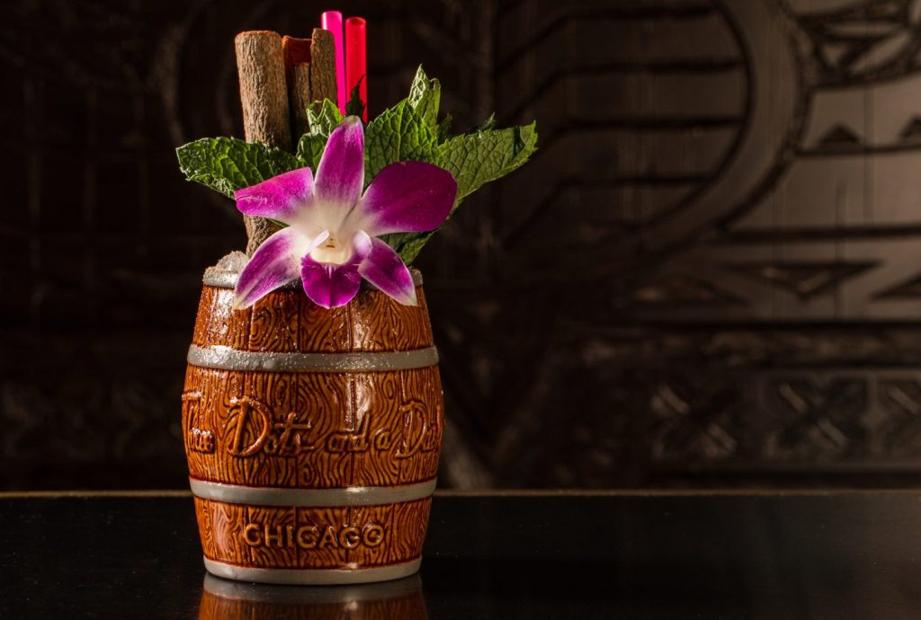 Three Dots' tiki drink in a barrel glass