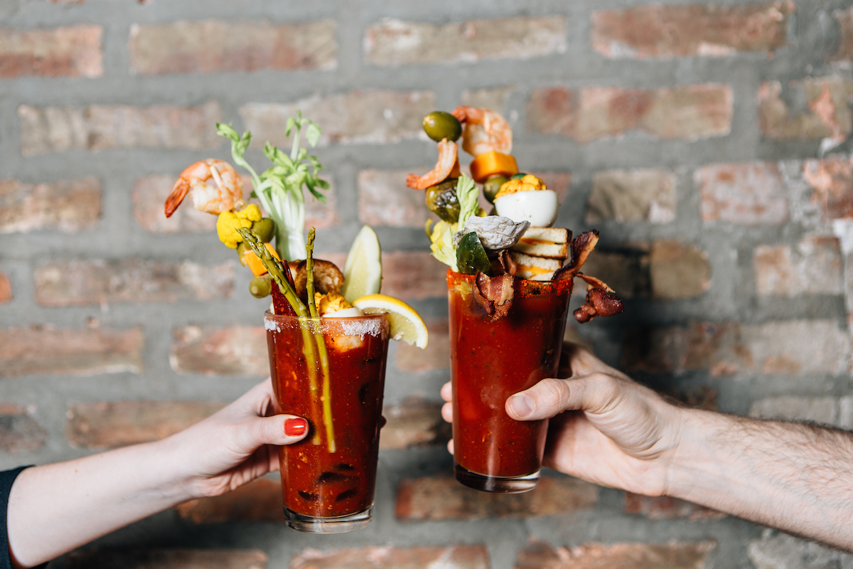 Bloody mary's from Bub city's bloody mary bar with a lot of garnishes