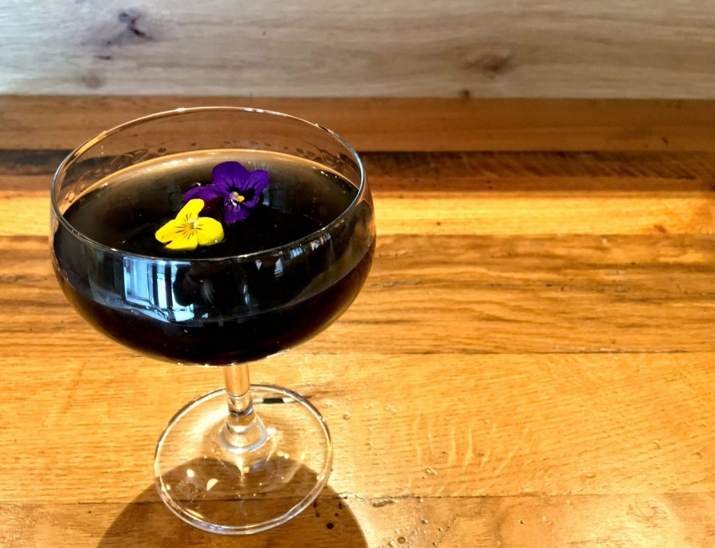 Beatrix's Midnight Flight, a charcoal cocktail