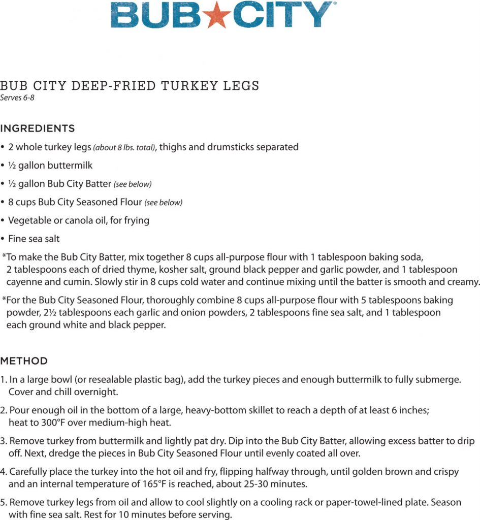 recipe for Bub City's deep fried turkey legs