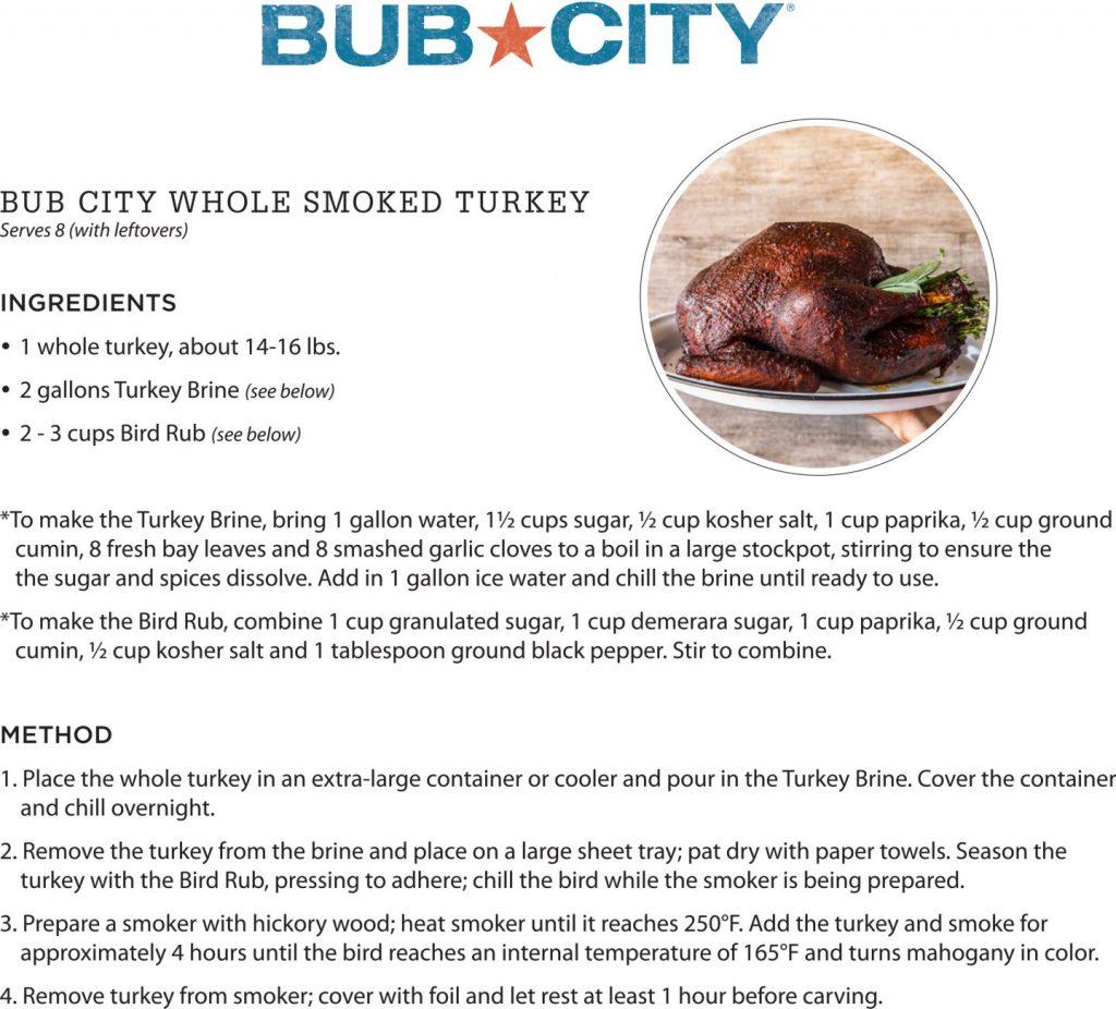 recipe for bub city's whole smoked turkey