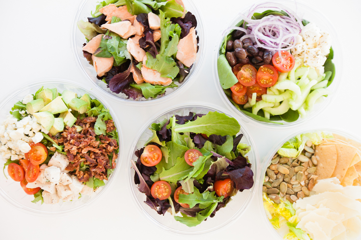 Variations of different salads from Community Canteen from salad bar
