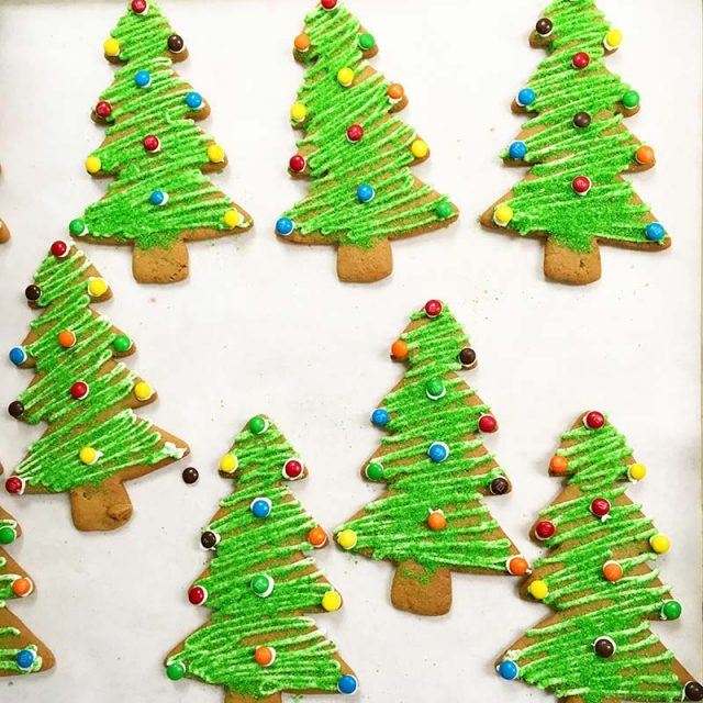 Cookies decorated like Christmas Trees
