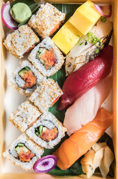 A bento box of sushi from Naoki