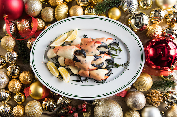 Joe's Seafood's Stone Crab on a bed of ornaments