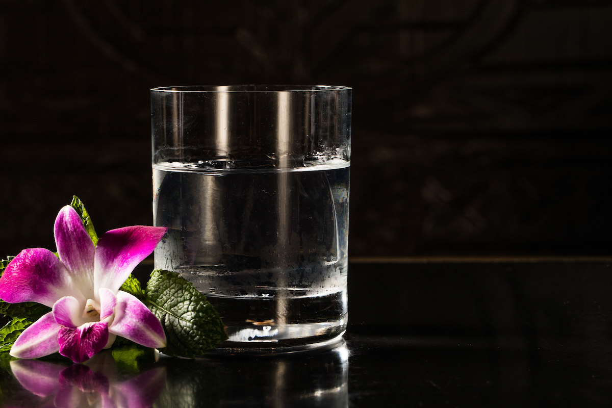 Clear cocktail with a flower on the side