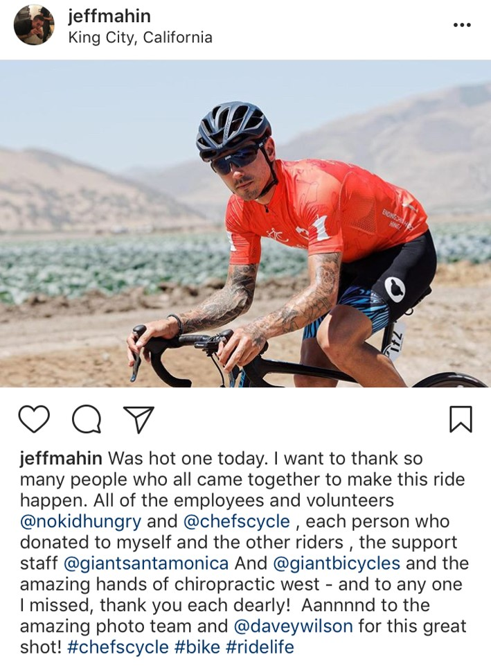 Jeff Mahin Instagram of him on a Bike