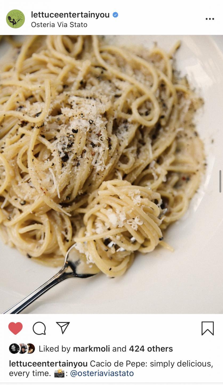 cacio e pepe from osteria via stato