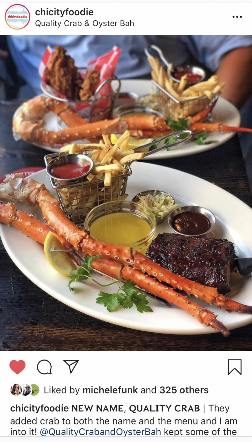 Chi city foodie instagram post of the king crab combination meals at Quality crab and oy ster bah