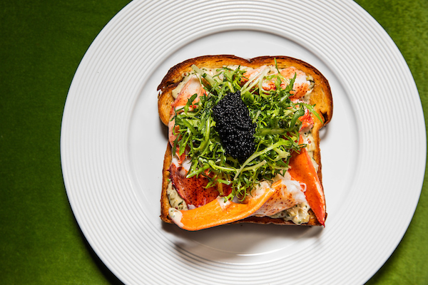 lobster toast with caviar from booth one