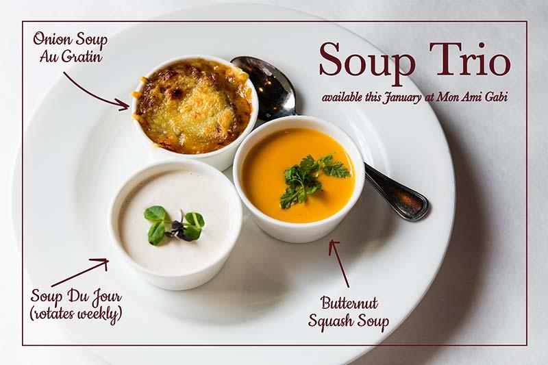 Mon Ami Gabi's soup trio