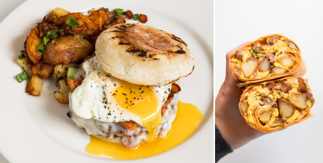 side by side images of a brunch burger with a runny egg and a breakfast burrito