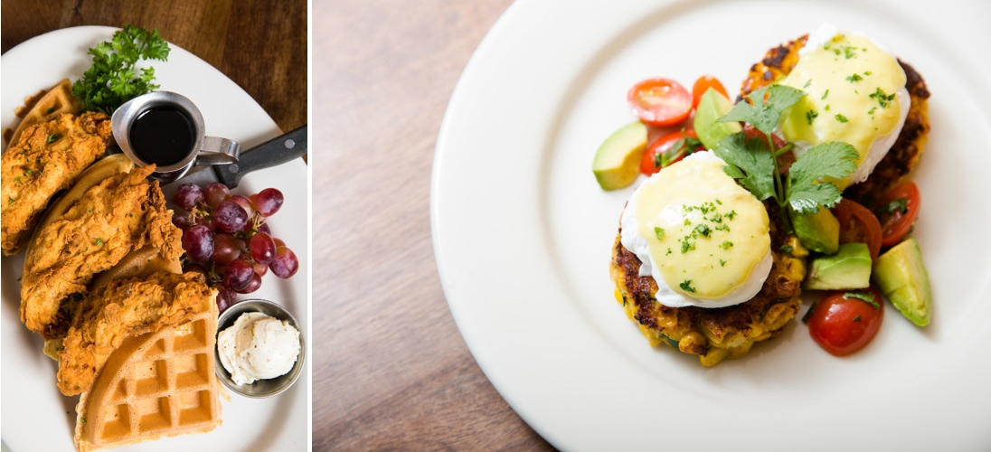 side by side images of chicken and waffles and sweet corn cakes eggs benedict