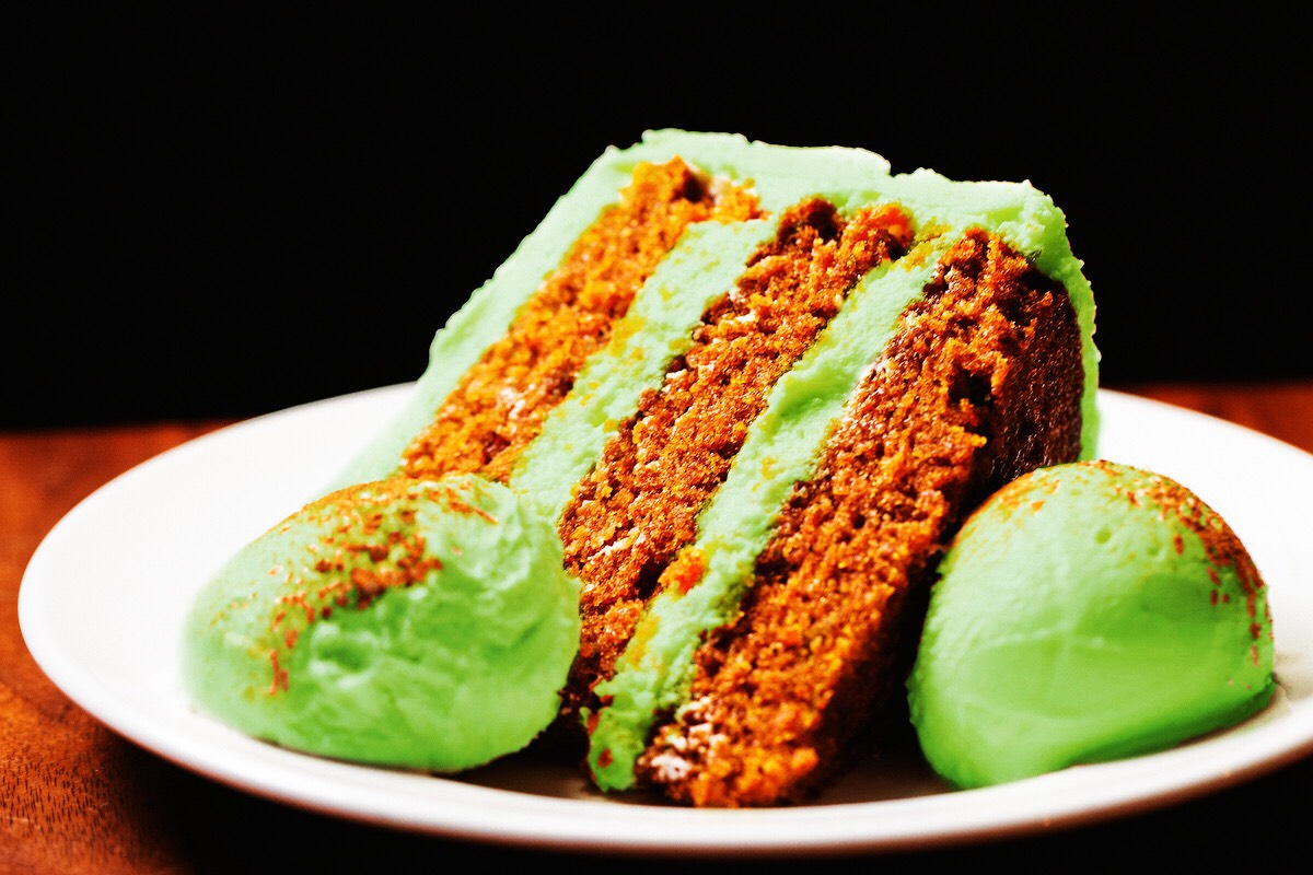 carrot cake with green frosting for St Paddy's at Hub 51